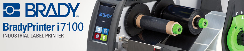 Brady Printer i7100 Industrial Label Printer header image showing a photo of the interior of the i7100.