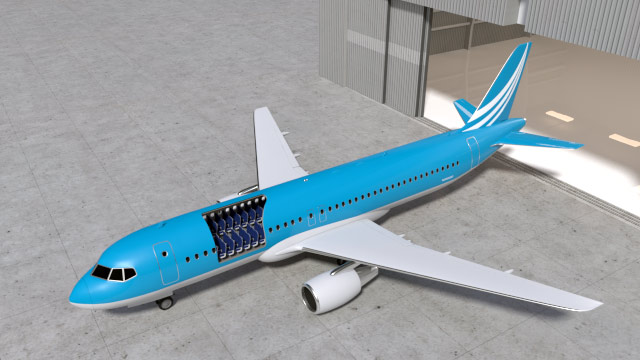 3D model of a twinjet airliner