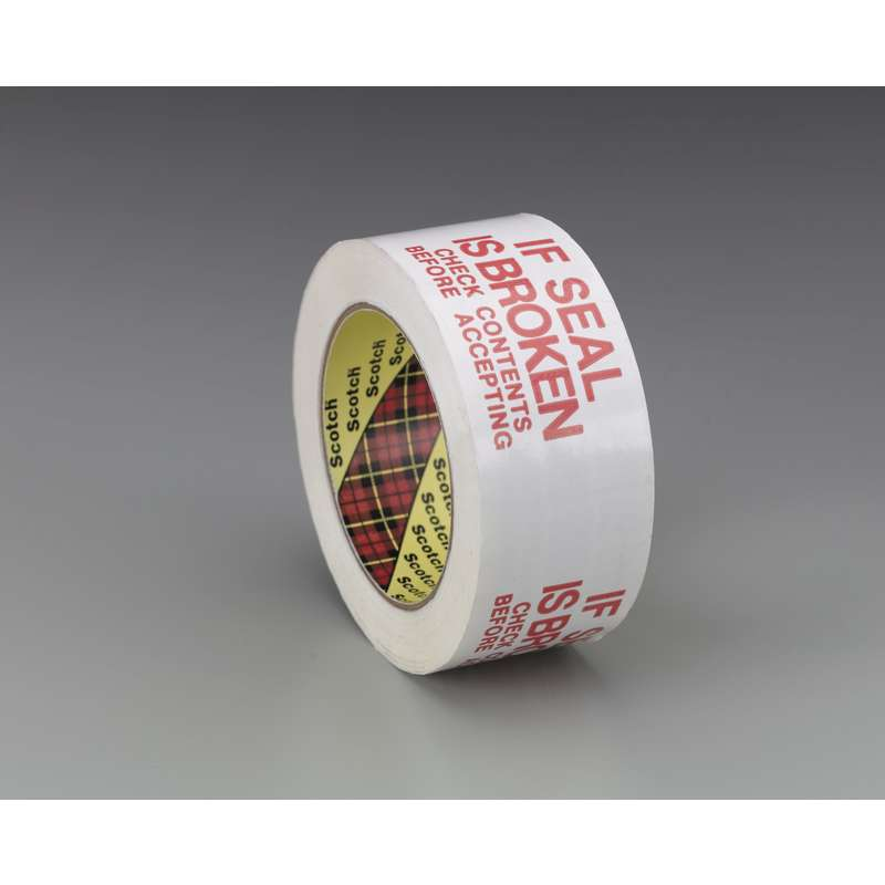 Scotch(R) Printed Message Box Sealing Tape 3771 White If Seal is Broken Check Contents Before Accepting, 48 mm x 100 m, 36 per case Bulk