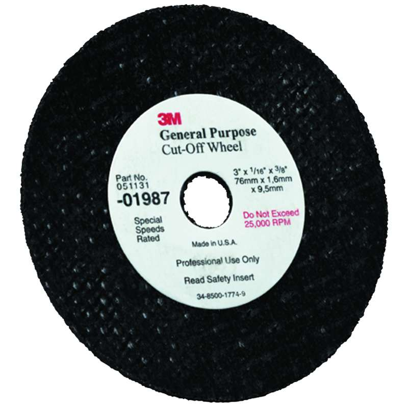 3M™ General Purpose Cut-Off Wheel, 01987, 3 in x 1/32 in x 3/8 in, 50 per case