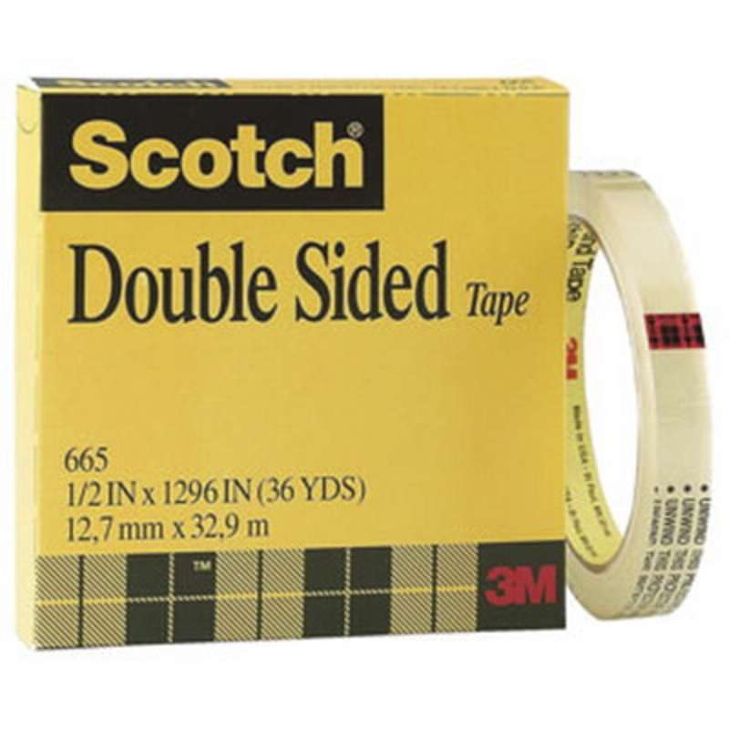 Scotch(R) Double Sided Tape 665, 1 in x 1296 in Boxed