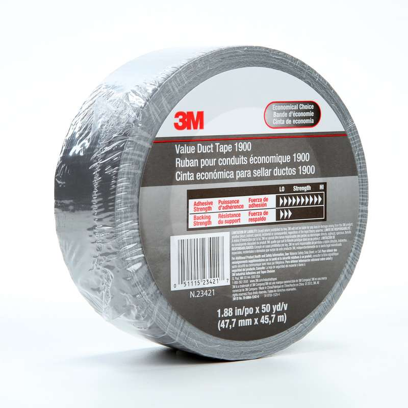 3M™ Value Duct Tape 1900 Silver, 1 88 in x 50 yd 5 8 mil, 24