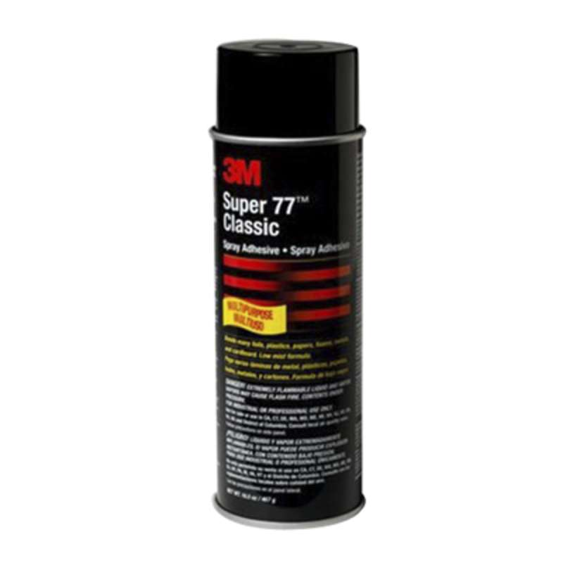 3M™ Super 77™ Classic Spray Adhesive, Net Wt 16.5 oz, 12 per case, Not for sale or use in CA and other states. Consult local air quality rules before use.