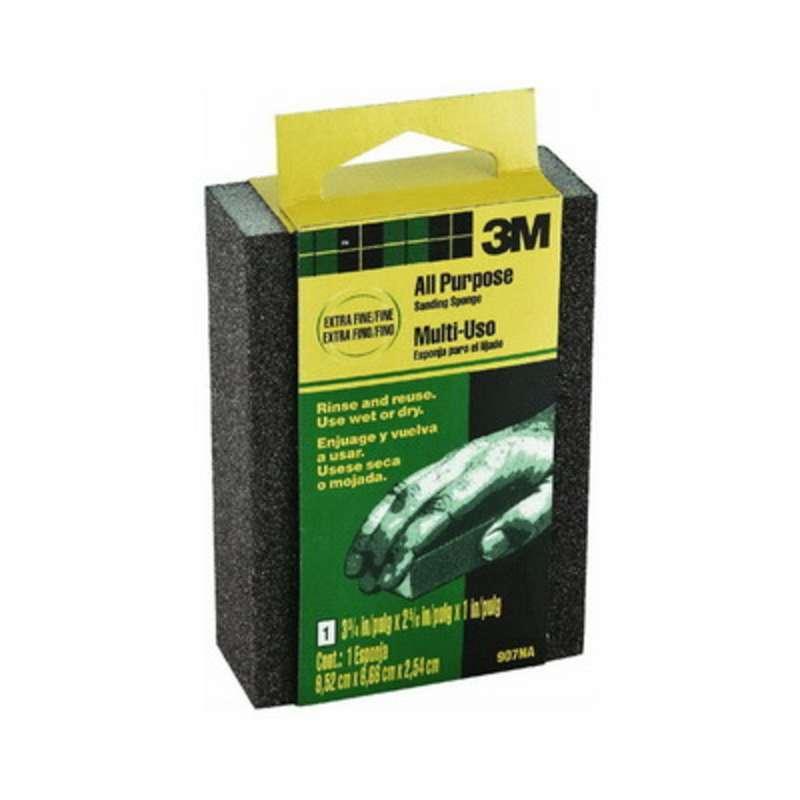 3M™ Small Area Sanding Sponge, 907NA, 3.75 in x 2.625 in x 1 in, Extra Fine/Fine