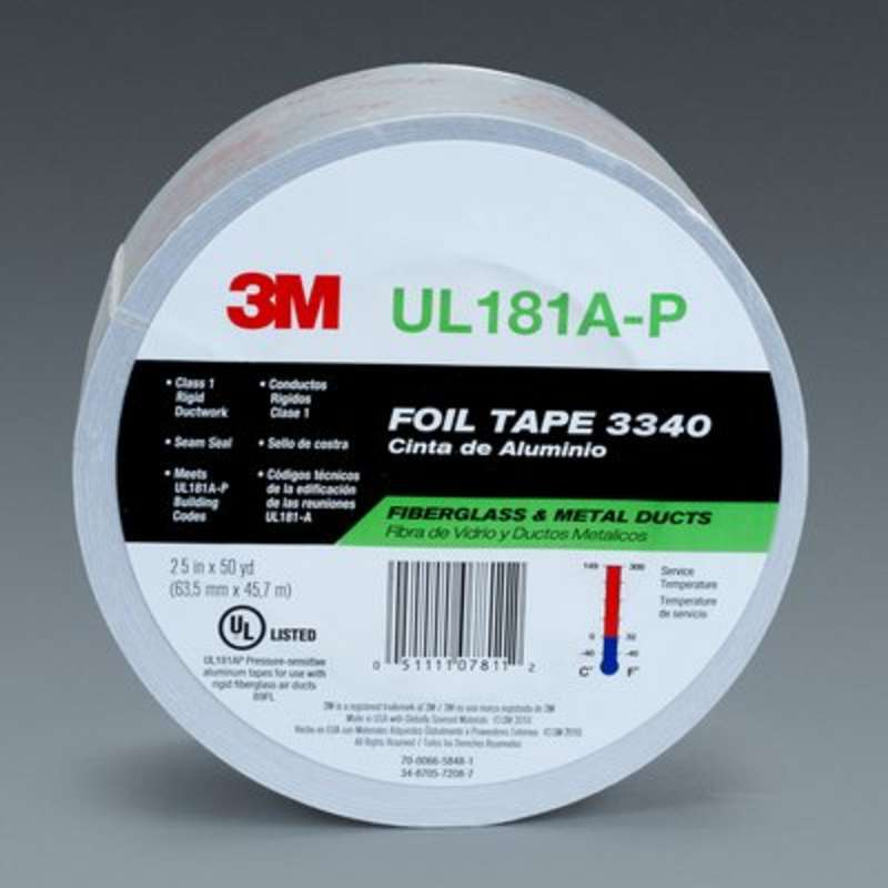 Series 3340 Aluminum Foil Tape, Color Silver, Plastic