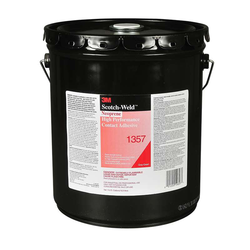 3M™ Neoprene High Performance Contact Adhesive 1357 Gray-Green, 5 Gallon Pail Pour Spout, 1 per case