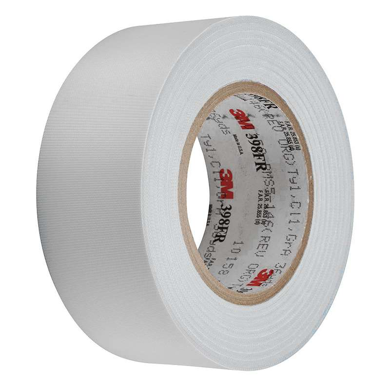 3M™ Glass Cloth Tape 398FR White, 3 in x 36 yd, 12 per case Bulk