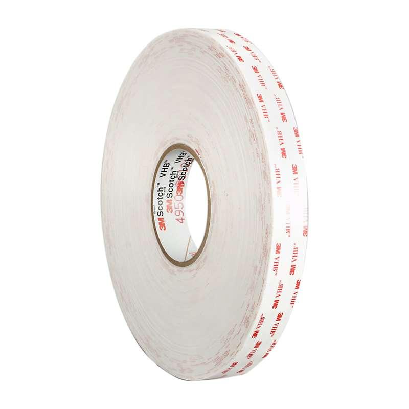 """3M™ VHB™ 4950 White Tape, 1"""" x 36 yd x 45 mil, 9 rolls per case"""