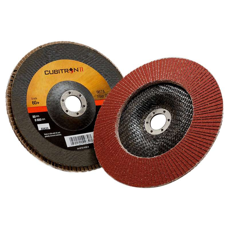 3M™ Cubitron™ II Flap Disc 967A, T29 Giant 4-1/2 in x 5/8-11 40+ Y-weight, 10 per case