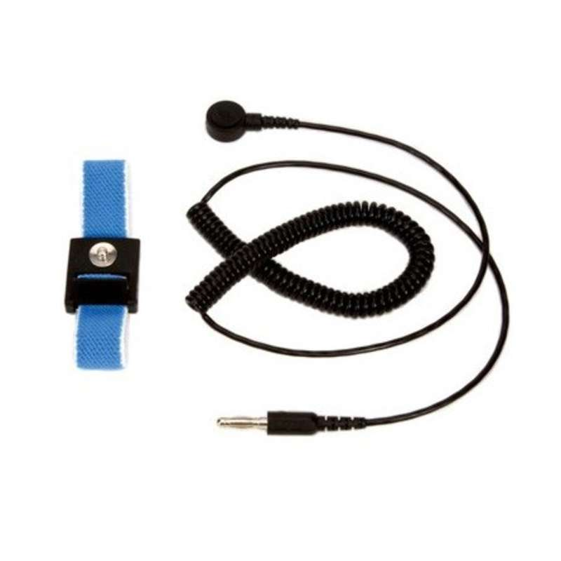 Adjustable Elastic Blue Fabric Wrist Strap with 6' Coil Cord, 4mm Snap, and Banana Plug