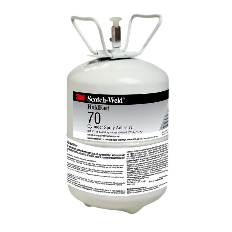 3M™ HoldFast 70 Cylinder Spray Adhesive, Clear, Mini Cylinder (Net Wt 8.5 lb), 1/case