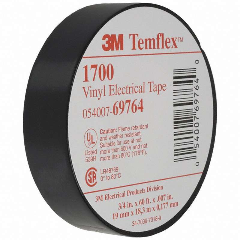 3M™ Temflex™ General Use Vinyl Electrical Tape '1700-3/4x60FT, 3/4 in x 60FT, 100 per case