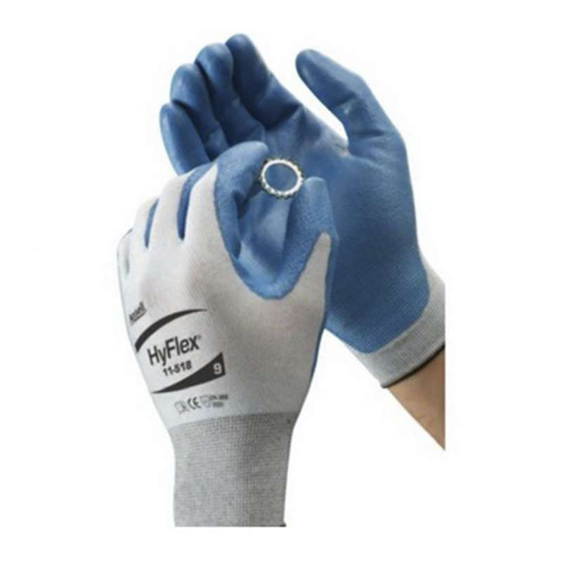 "HyFlex® Powder Free Knitted Palm Coated Blue Polyurethane Gloves, Large, 9.5"" Long, 12-Pair per Bag"