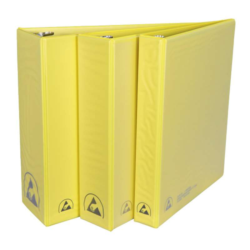 """ESD-Safe 3-Ring Binder with 1"""" Ring Size, Yellow"""