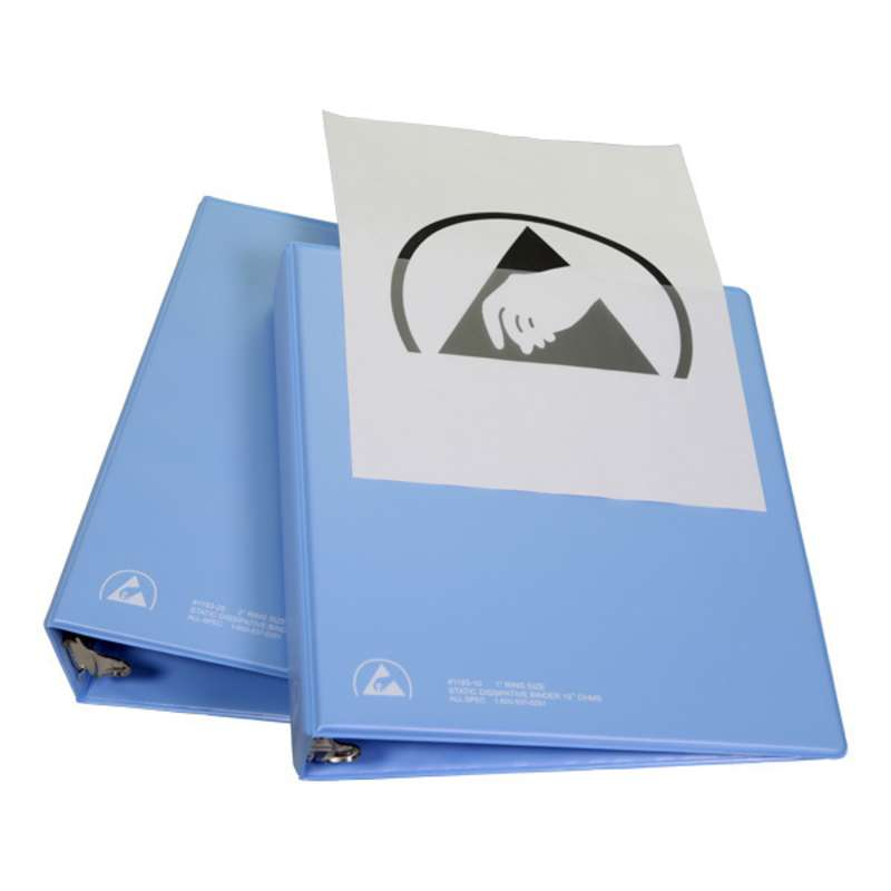 """ESD 3-Ring Binder with 1/2"""" Rings and Clear View Dissipative Outside Pocket, Blue"""
