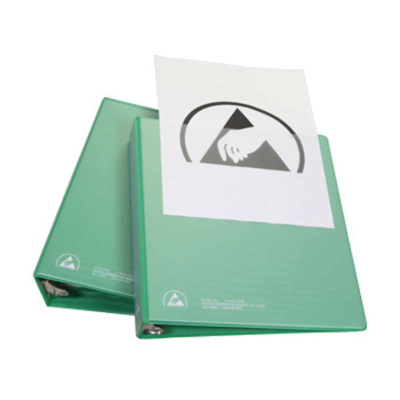 "ESD-Safe 3-Ring Binder with 2"" Ring Size and Clear View Dissipative Outside Pocket, Green"