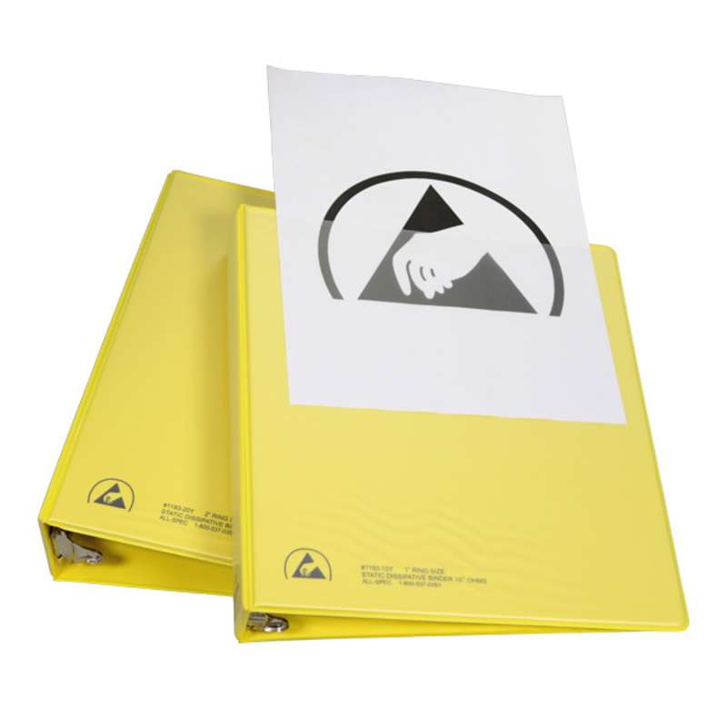 """ESD-Safe 3-Ring Binder with 2"""" Ring Size and Clear View Dissipative Outside Pocket, Yellow"""