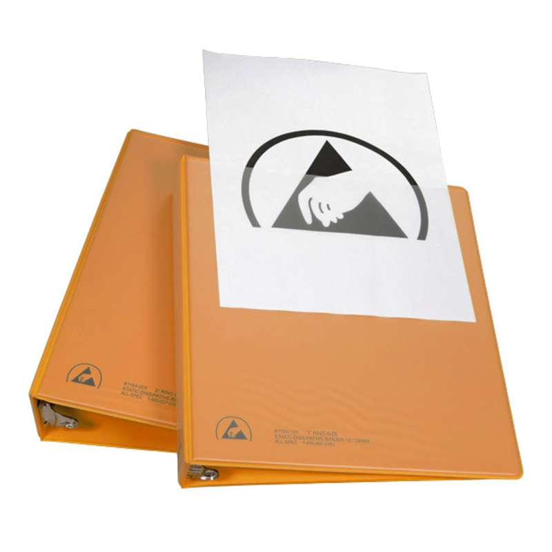 """ESD-Safe 3-Ring Binder with 1/2"""" Ring Size and Clear View Dissipative Outside Pocket, Orange"""