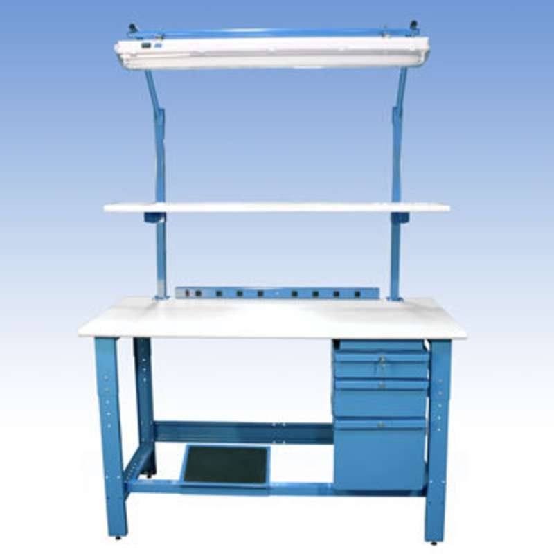 """Adjustable Height ESD-Safe Workbench with 1000 lb Weight Capacity, Rolled Front Edge, Uprights and Accessories, 30 x 60"""""""