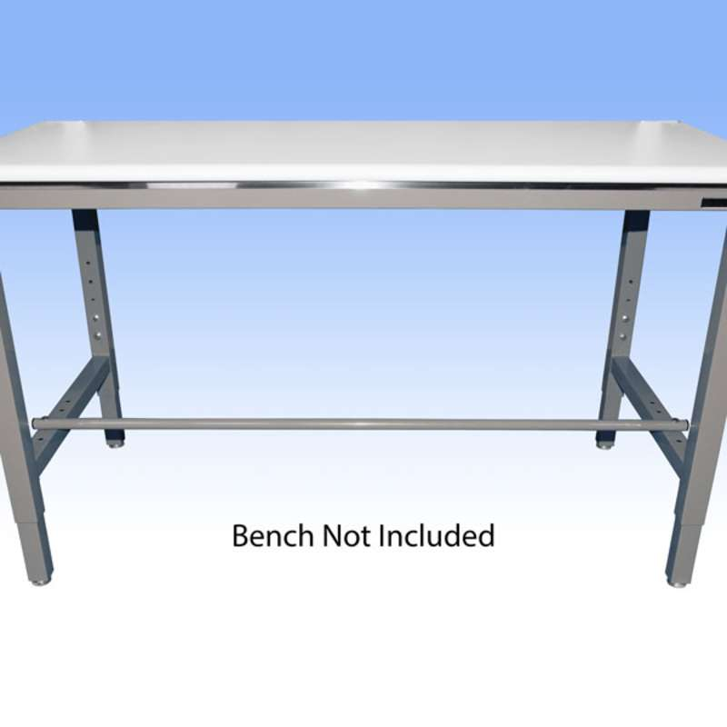 """Round Steel Adjustable Footrest for 60"""" and 120"""" All-Spec Heavy-Duty Chemical Resistant Benches, Grey, 1-1/4"""" Diameter"""