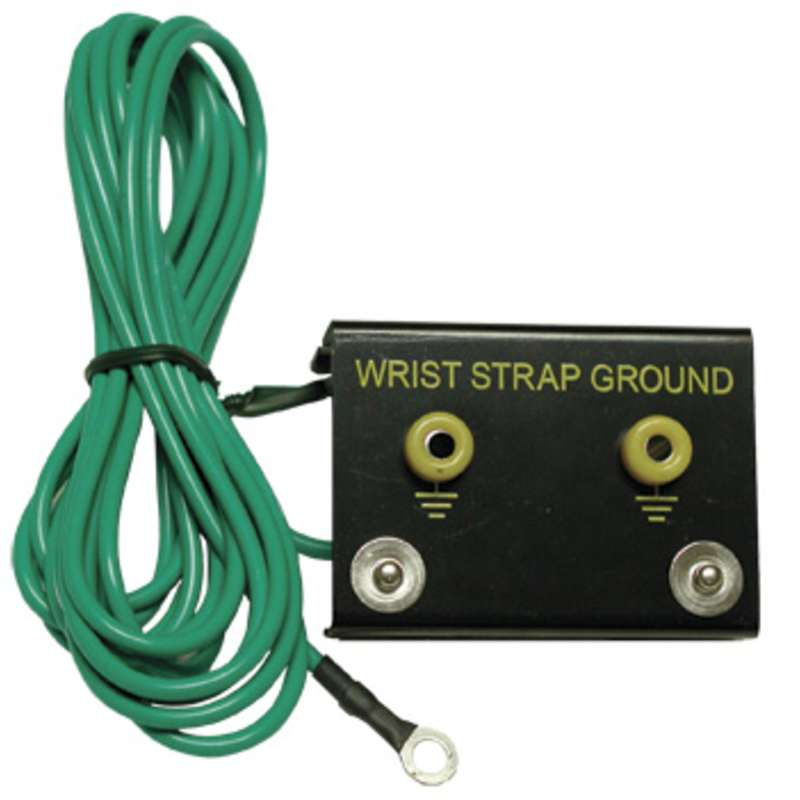 Dual Bench Ground Mount with 15' Ground Cord for Single Conductor Wrist Straps