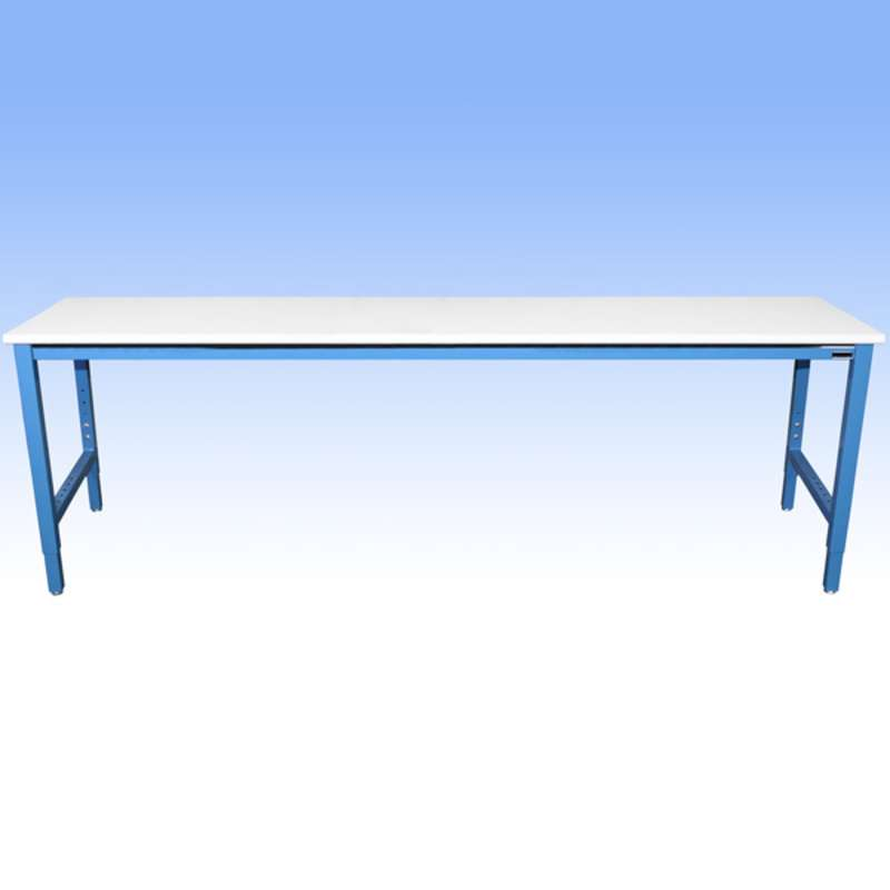 """Non-ESD-Safe Adjustable Height Heavy Duty Workbench with 5000 lb Weight Capacity, Rolled Front Edge and Glides, White, 36 x 120"""""""