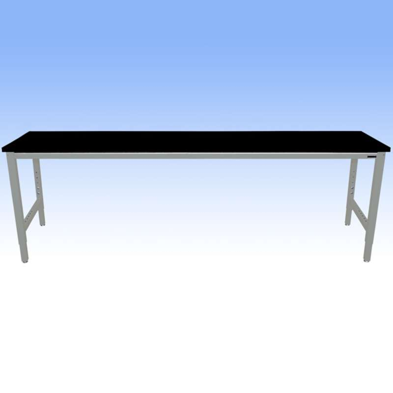 Adjustable Height Heavy Duty Chemical Resistant Phenolic Resin Top Workbench with 5000 lb Weight Capacity, Square Edges and Glides, Black, 24 x 96""