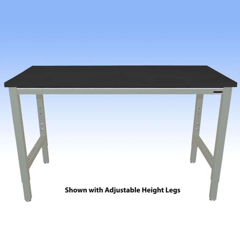 """Fixed Height Heavy Duty Chemical Resistant Phenolic Resin Top Workbench with 5000 lb Weight Capacity, Square Edges and Glides, Black, 30 x 48"""" (Must Specify Height)"""