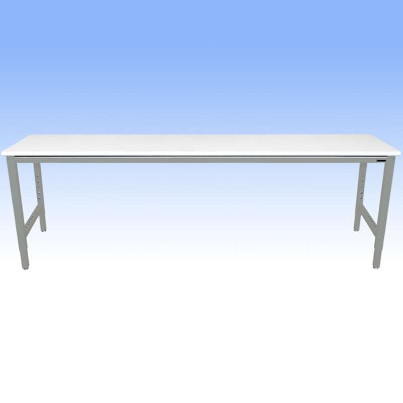 Adjustable Height Heavy Duty Chemical Resistant Phenolic Resin Top Workbench with 5000 lb Weight Capacity, Square Edges and Glides, White, 36 x 120""