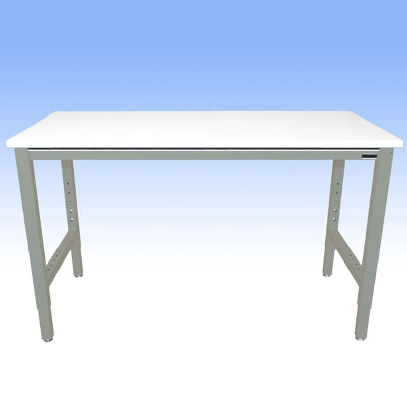 """Adjustable Height Heavy Duty Chemical Resistant Phenolic Resin Top Workbench with 5000 lb Weight Capacity, Square Edges and Glides, White, 24 x 48"""""""