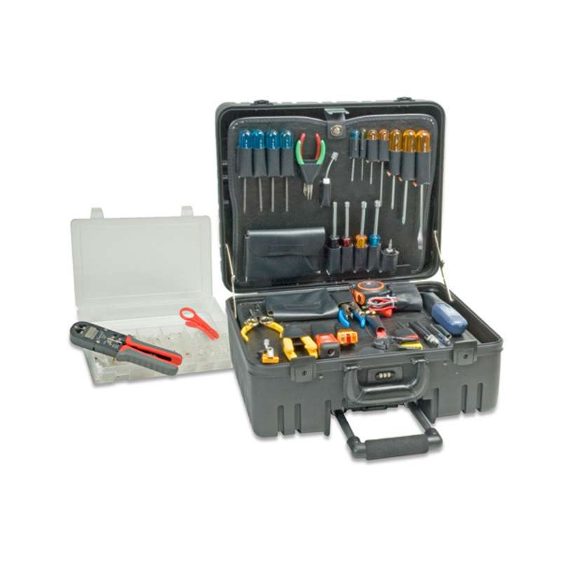 VDV Network Installation Manager's Tool Kit with a Wheeled Roto-Rugged® Plastic Case, 45 Pieces