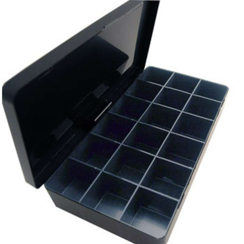 "Compartmented Hinged Conductive Plastic Box 7-15/16 x 4-1/8 x 1"" with 18 Cells 1-1/4 x 1-5/16 x 1"""