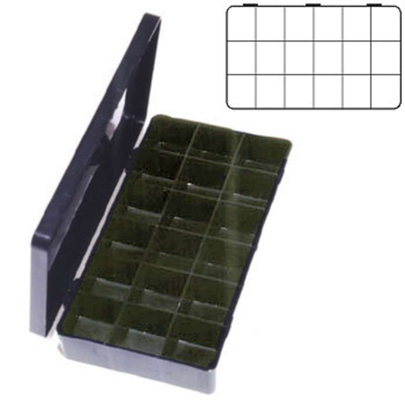 """Conductive Compartmented Hinged Plastic Box 11 x 6-1/2 x 1-3/4"""" with 18 Cells"""