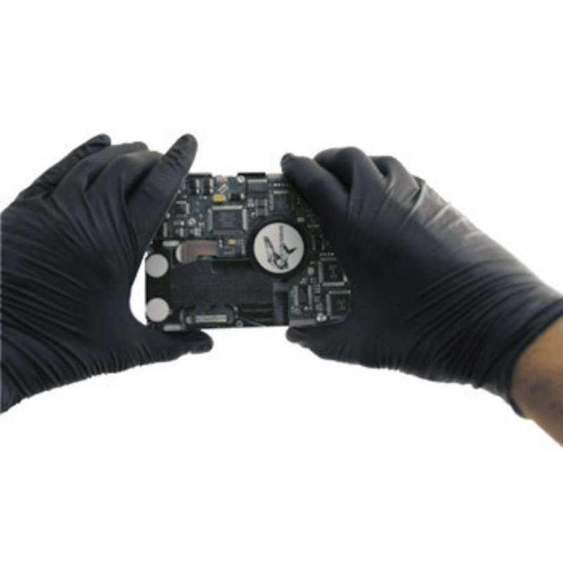 """Anti-Static Powder Free Textured Black 5mil Nitrile Gloves, Small, 9"""" Long, 100 per Pack"""