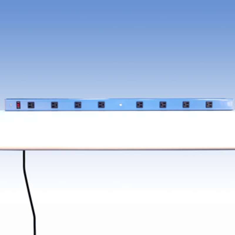 "Aluminum Power Strip with 8 Outlets for 72"" Benches without Uprights, 69-1/2"" Long"