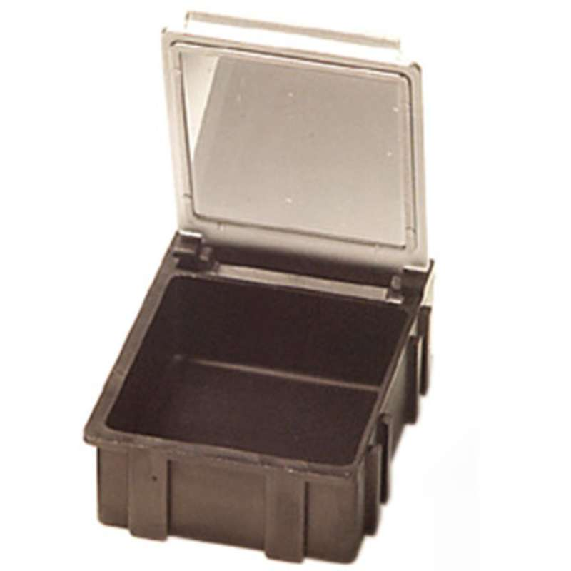 """Conductive Hinged SMD Storage Box with Transparent Lid, 1-9/16 x 1-1/2 x 19/32"""""""