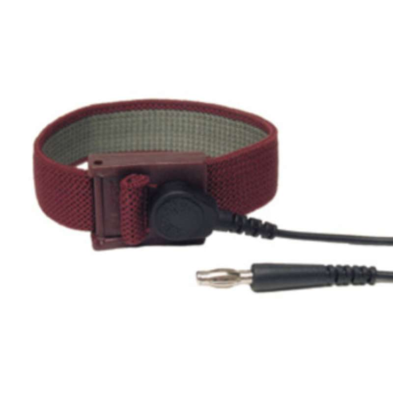 Elastic Adjustable Maroon Wrist Strap with 4mm Snap and 12' Coil Cord
