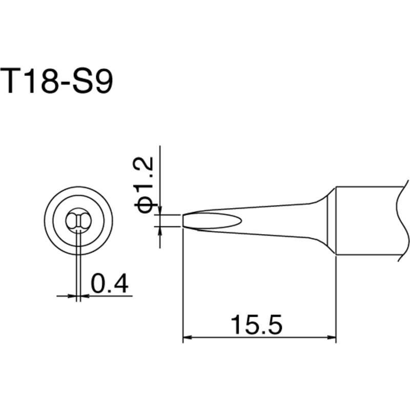 Soldering Tip,Chisel,1.2mm x 15.5mm HAKKO T18-S9