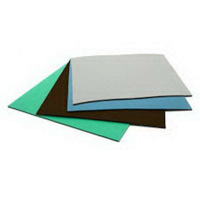 Dissipative 3 Layer Rubber Mat with Snap and Ground, Blue, 2' x 6' x 1/8""