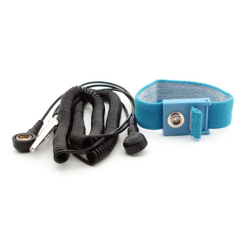 """Lightweight Adjustable Wrist Strap Set with 10' Coil Cord with 1/8"""" snap, Blue"""