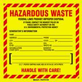 Hazardous Waste Packing Label, Black/Red on Yellow, B-7569, 6 x 6 x .004 in, 100 per Package