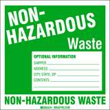 Non-Hazardous Waste Label, Green on White, B-7569, 6 x 6 x 0.004 in, 100 Labels per Package