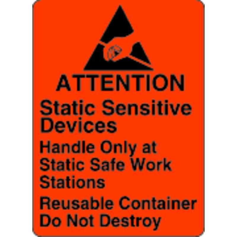 Static Awareness Labels, Black on Orange, B-121, 2.5 x 1.812 in, 500 Labels per Roll