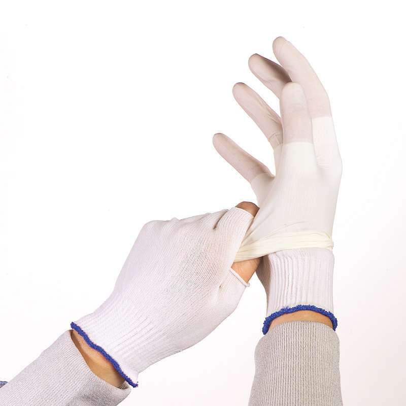 BCR? Cleanroom Half-Finger Polyester Glove Liner, Large, White, 10 Pair