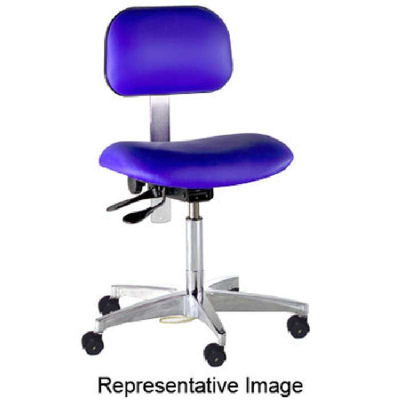 BTS Series Non-ESD-Safe Adjustable Height Blue Vinyl Chair with Chrome Steel Base, Footring, and Casters, 27 to 32""