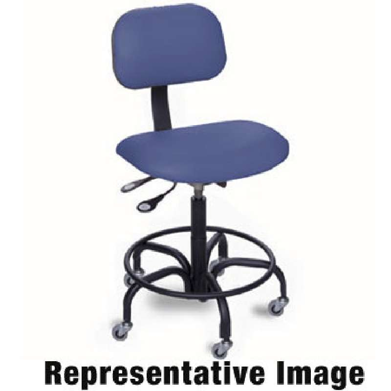 """EEA Series Cleanroom ESD-Safe Adjustable Height Blue Vinyl Chair with Chrome Base and Conductive Casters, 19 to 24"""""""