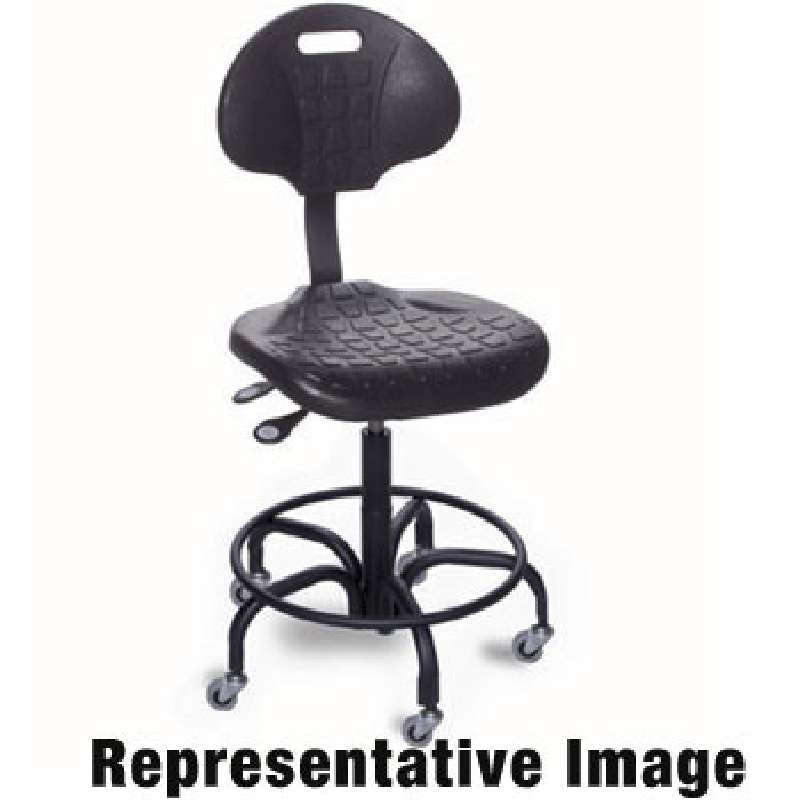 """UU Series Non-ESD-Safe Adjustable Height Black Chair with Chrome Steel Base, Footring, and Casters, 18 to 23"""""""