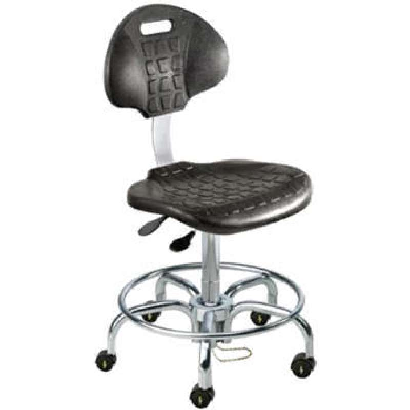 UUT Series Cleanroom ESD-Safe Adjustable Height Black Chair with Chrome Base and Casters, 21 to 26""