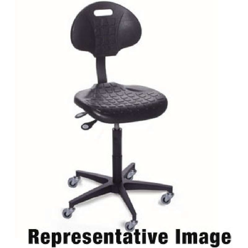 """UUC Series Cleanroom ESD-Safe Adjustable Height Black Polyurethane Chair with Aluminum Base and Casters, 18 to 23"""""""