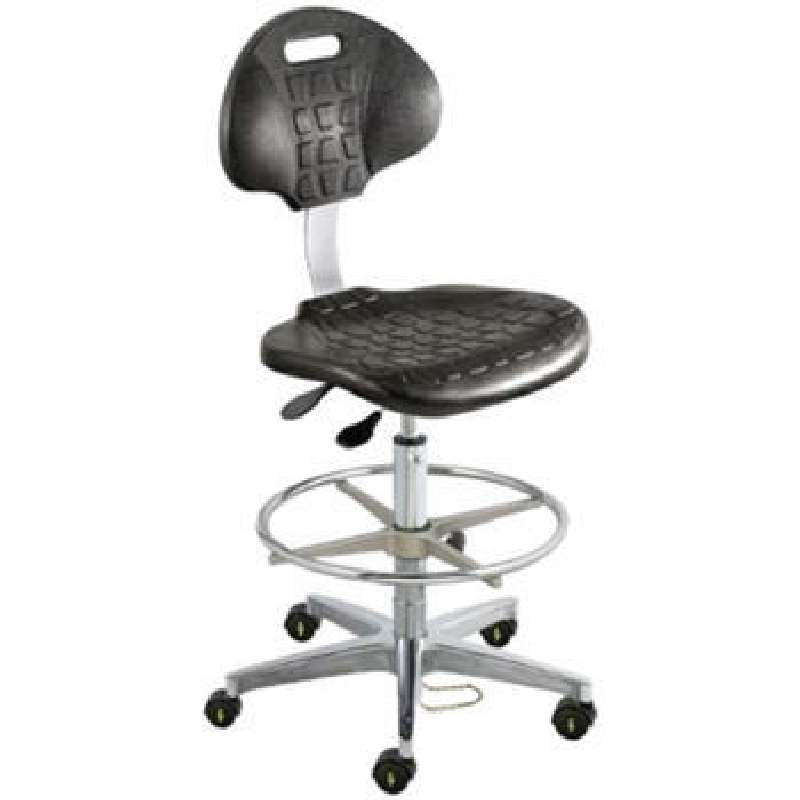UUC Series Cleanroom ESD-Safe Adjustable Height Black Polyurethane Chair with Aluminum Base and Casters, 22 to 32""